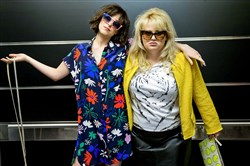 "Dakota Johnson, left, and Rebel Wilson in ""How to Be Single."""