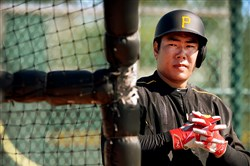 Pittsburgh Pirates shortstop Jung Ho Kang waits to hit during workouts at Pirates City.