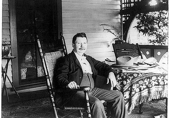 uncle_remus0221_harris_porch_mag-1 Joel Chandler Harris on the porch of the Wren's Nest, where he wrote the Br'er Rabbit stories.