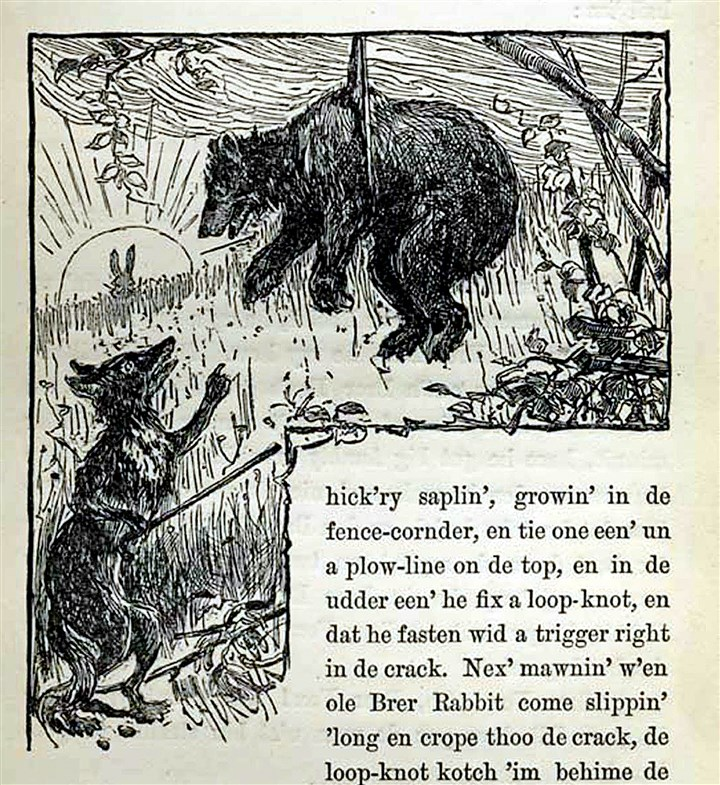 "uncle_remus0221_fox_bear_mag_01 Br'er Fox and Br'er Bear from ""Uncle Remus, His Songs and His Sayings: The Folk-Lore of the Old Plantation,"" by Joel Chandler Harris. Illustrations by Frederick S. Church and James H. Moser."