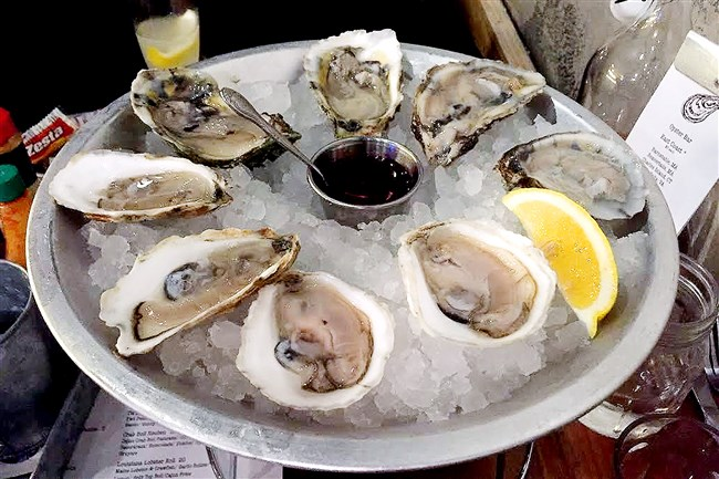 A platter of East Coast oysters at Muddy Waters Oyster Bar in East Liberty.