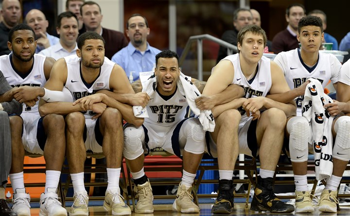 20160216mfpittsports11 The Pitt bench reacts to the second missed free throw by Ryan Luther against Wake Forest in the first overtime Tuesday at Petersen Events Center.