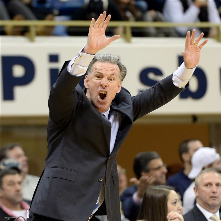 20160216mfpittsports15-1 Pitt head coach Jamie Dixon looks for a foul call as they take on Wake Forest in the second half.
