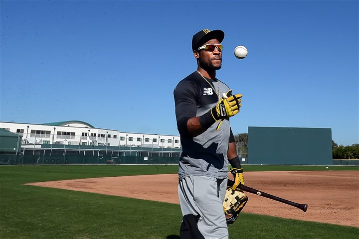 20160218pdPiratesSports02-1 Pittsburgh Pirates Starling Marte reports early with pitchers and catchers today during morning workouts at Pirate City Bradenton Florida.