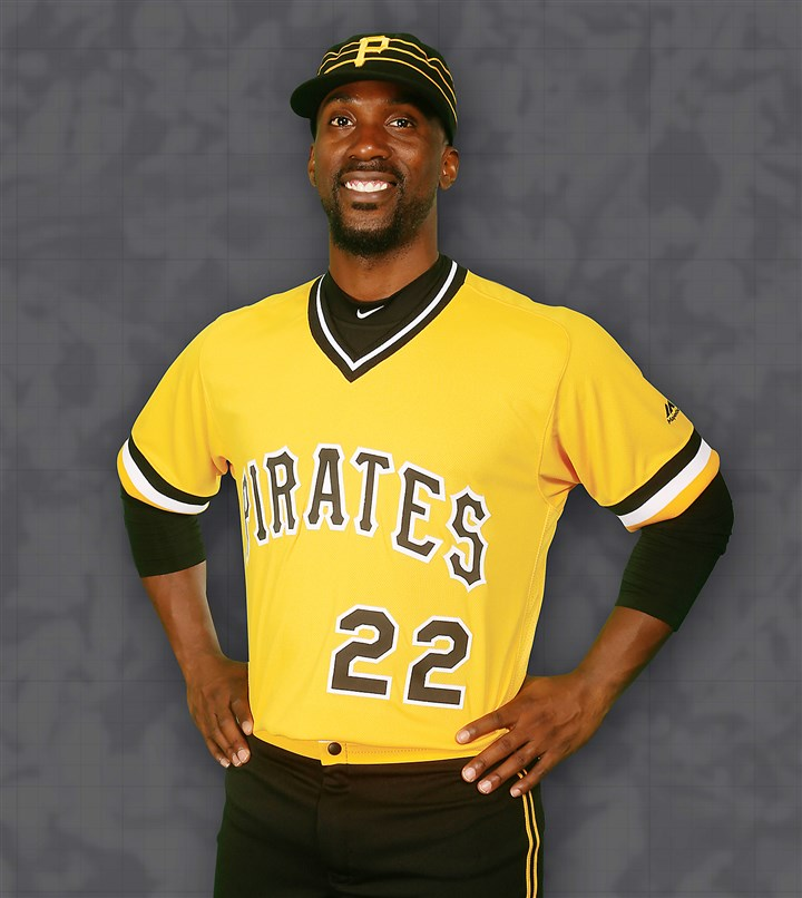 McCutchen gold jersey Andrew McCutchen models the new gold jersey.