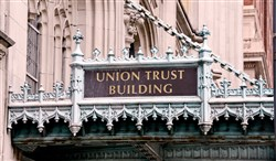 One of several marques hang over the entrances of the Union Trust Building.