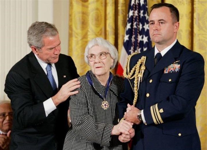 harper lee 02192016 President George W. Bush, left, awards the Presidential Medal of Freedom to American novelist Harper Lee in November 2007.
