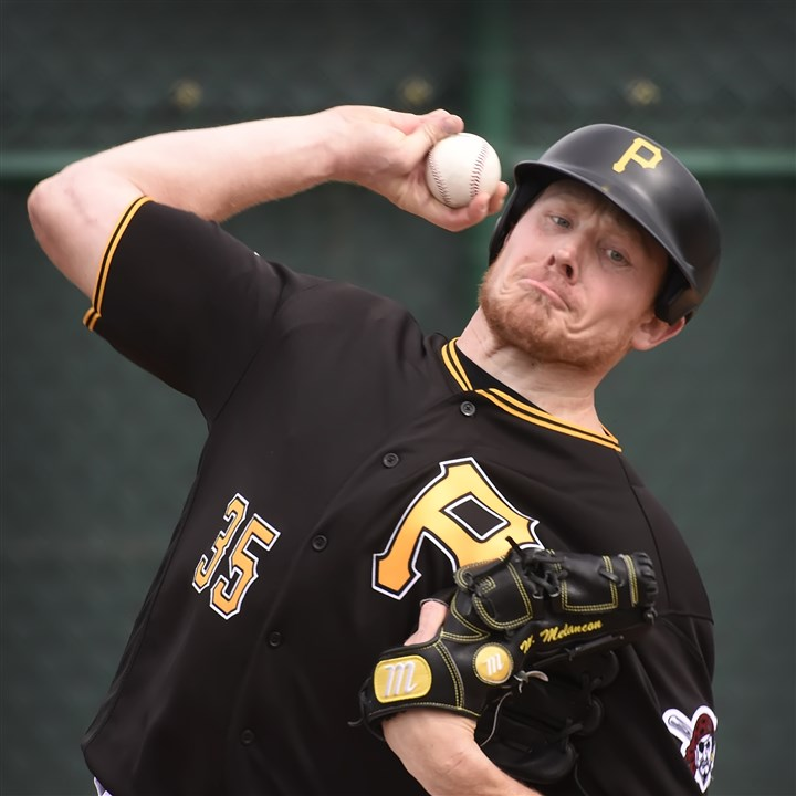"20160221pdPiratesSports05-4 Pirates closer Mark Melancon ""one foot in, one foot out"" after his trial run with a new pitching helmet developed in part by the MLB and MLBPA."