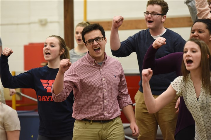 "20160221radStSebastianNorth03-2 Jacqueline Hien, left, and Andrew Magee are among the students in the St. Sebastian Youth Ministry rehearsing ""Jesus Christ Superstar."""