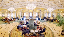 Lobby of the Omni William Penn Hotel in Downtown Pittsburgh. This panoramic image was made by stitching together several pictures taken over a period of several seconds.