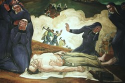 """Immigrant Mothers Raise their Sons for American Industry,"" is among 22 murals painted in 1937 and 1941 by Maxo Vanka in St. Nicholas Croatian Catholic Church in Millvale."