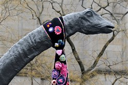 Dippy the Dinosaur sports a floral scarf.
