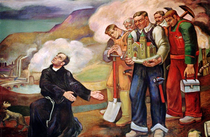 5GV01K1Q-4 A mural at St. Nicholas Croatian Catholic Church in Millvale by Croatian artist Maxo Vanka. The priest is Father Albert Zagar, who commissioned Mr. Vanka to create the paintings.