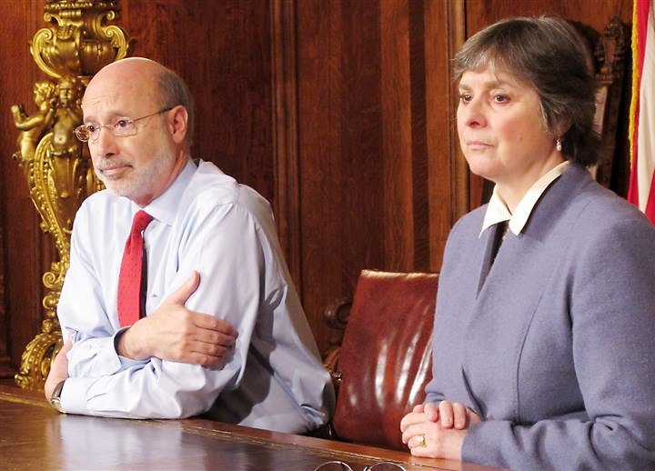 Pennsylvania Governor Prostate Cancer-1 Pennsylvania Gov. Tom Wolf and his wife, Frances, address reporters Wednesday while discussing Mr. Wolf's cancer diagnosis in his Harrisburg office.