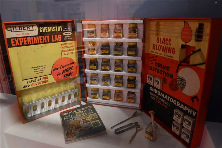 "20160224rldToys03-2 A Chemistry Experiment Lab box created by Alfred Carlton Gilbert, in 1956, is on display in ""Toys of the '50's, '60's and 70's,"" at the Heinz History Center."