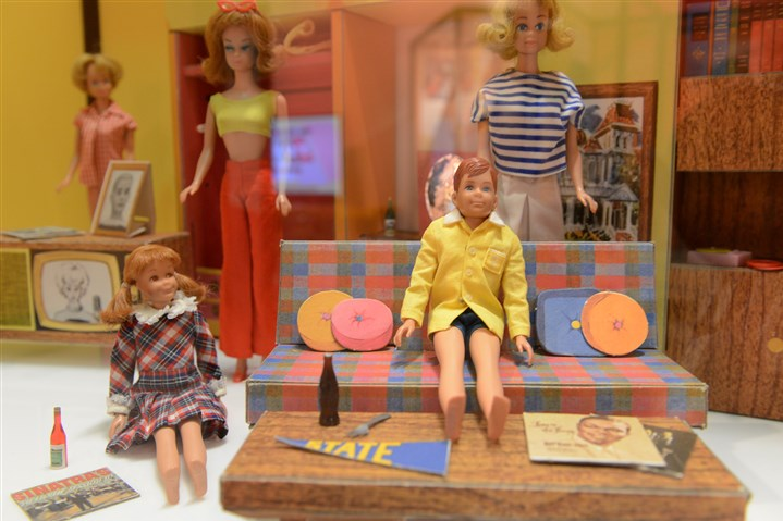 "20160224rldToys02-1 Barbie and friends in Barbie's Dream House, 1959-1960's, in the exhibit ""Toys of the '50's, '60's and 70's,"" at the Heinz History Center."