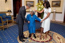 For a Feb. 18 reception celebrating African-American History, Virginia McLaurin, 106, visited the White House, where she was greeted by the president and first lady in the Blue Room.