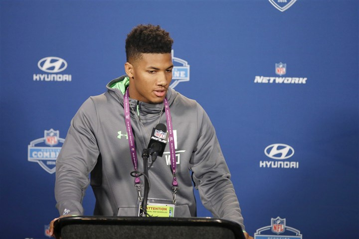 Boyd0226 Tyler Boyd responds to a question during a news conference Thursday at the NFL Scouting Combine.
