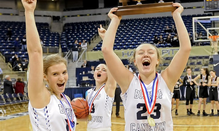 web2-20160226mfvincentiansports07-6 (Copy) Bishop Canevin's Rachel Hildebrand, Erin Joyce and Gina Vallecorsa celebrate their team's win over Greensburg Central Catholic Friday in the WPIAL Class AA championship game at Petersen Events Center.
