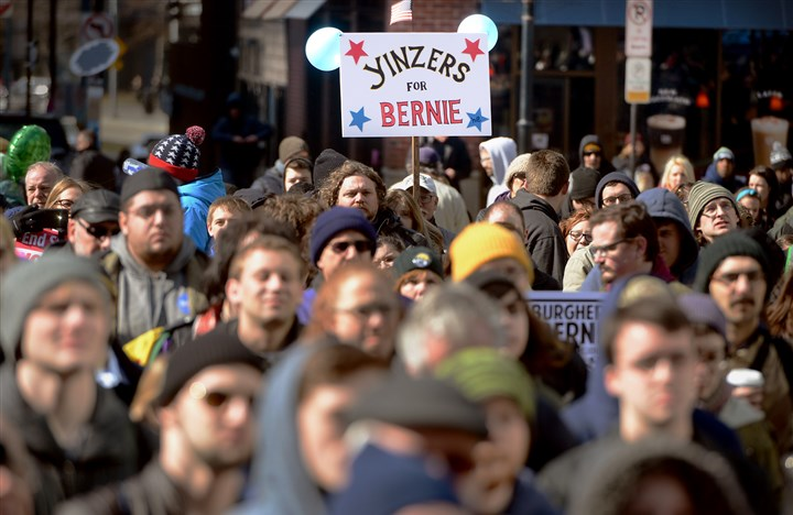 Supporters of Democratic presidential candidate and Vermont Sen. Bernie Sanders Supporters of Democratic presidential candidate and Vermont Sen. Bernie Sanders rally Saturday in Market Square.