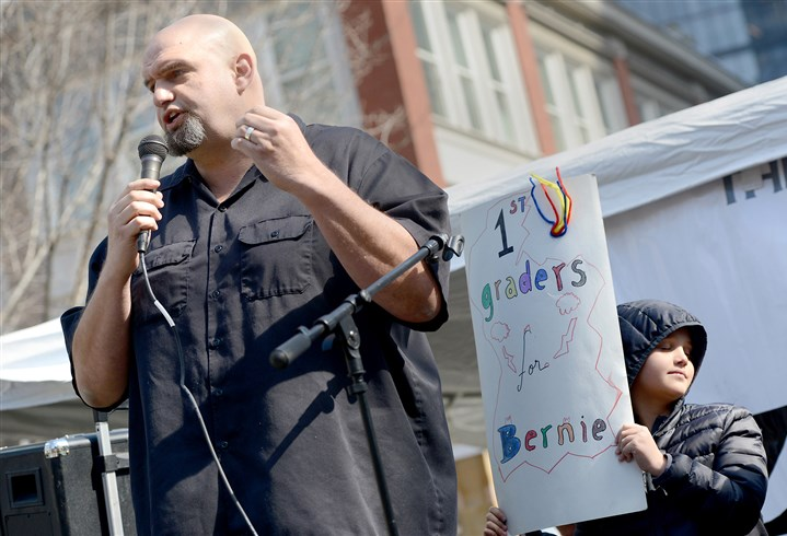 Braddock Mayor John Fetterman Braddock Mayor John Fetterman speaks Saturday in Market Square in support of Mr. Sanders. Mr. Fetterman's son, Karl, 7, shows his own form of support behind his father.