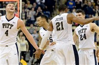 Pitt's Ryan Luther, Sterling Smith, Sheldon Jeter and Mike Lecak celebrate at the end of their team's win over Duke in February.
