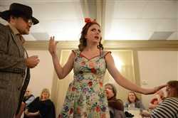 "Johnny Gallagher as ""Indiana Smith"" and Kelli-Ann Paterwic as ""Pauline Peril"" perform in Musical, Mysteries and More production of ""Indiana Smith and the Restaurant of Doom"" at The Lamplighter in Delmont. The four-person cast engages and includes members of the audience to play roles throughout the evening."