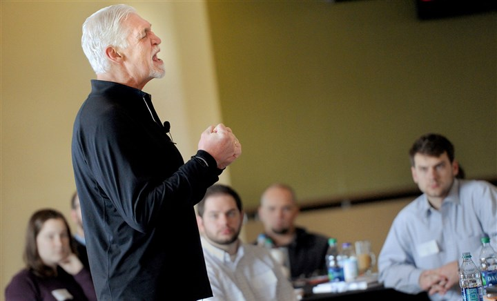 20160227ppBoysToMen1SunLocal Joe Ehrmann, co-founder of Coach for America, was the keynote speaker at a Coaching Boys Into Men symposium Saturday at PNC Park's Rivertowne Hall of Fame Club.