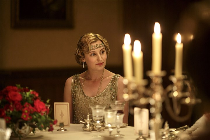 "owen0304_mag_downton-2 Laura Carmichael who plays Lady Edith in ""Downton Abbey"" says that if the cast reunited for a movie it would have to be one with substance."