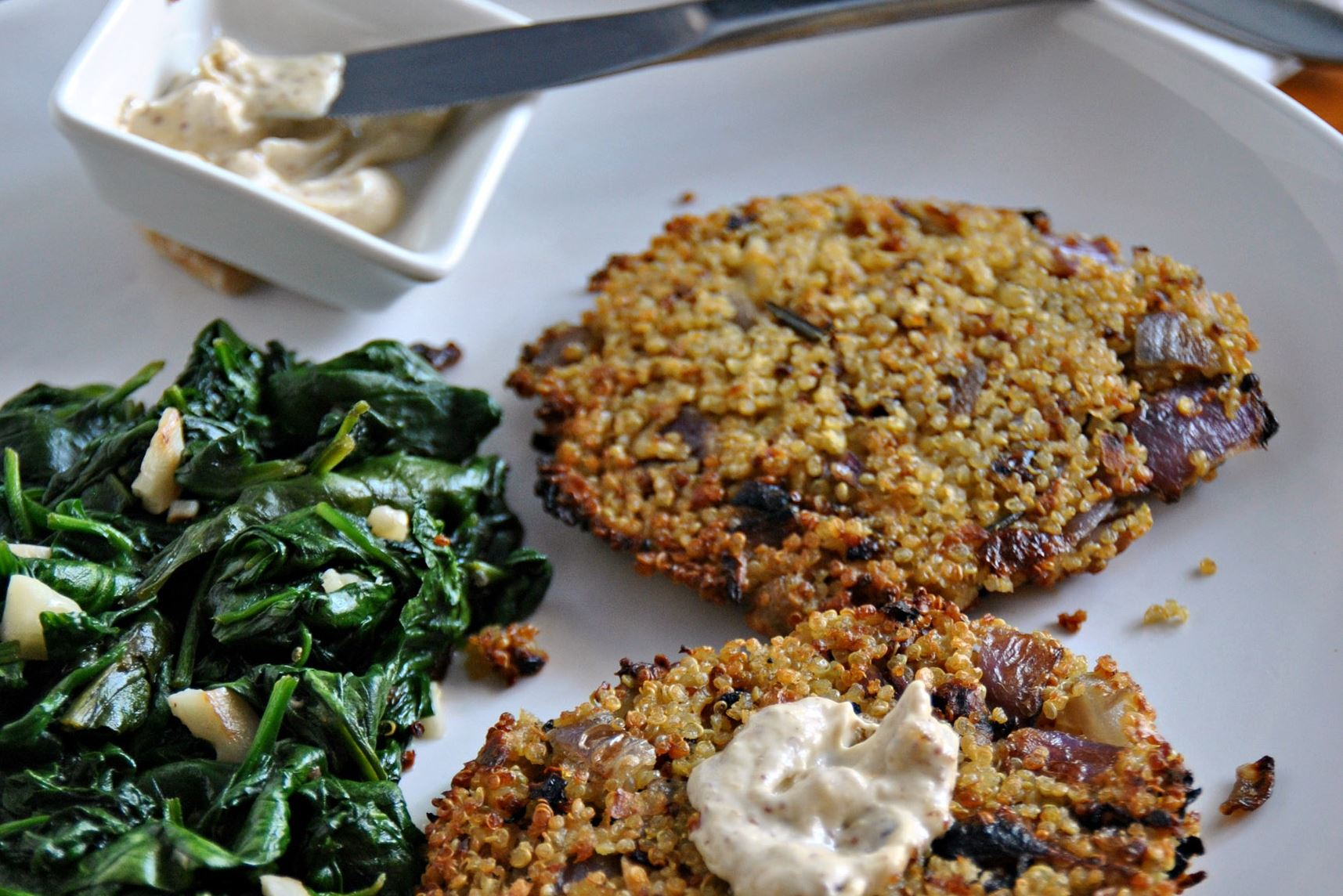 dinnerinabox0309-rutabaga-rosti-10 Purple Carrot's Rutabaga Rosti with Garlicky Balsamic Spinach.