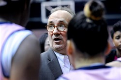 Robert Morris coach  Sal Buscaglia talks to his players during a game at the Sewall Center.
