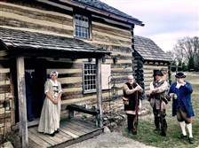 At the Hanna's Town historic site in Westmoreland County, Joanna Moyar, David Matheny, Scott Henry and Augie Nicolai show how Western Pennsylvania was in the late 18th century.