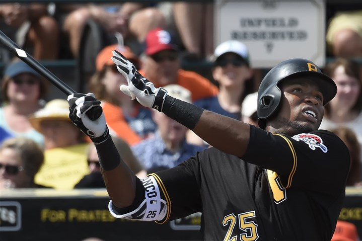 20160302pdPiratesSports13-1 The Pirates' Gregory Polanco drives the ball to right field during a game against the Tigers on March 2 at McKechnie Field in Bradenton, Fla.