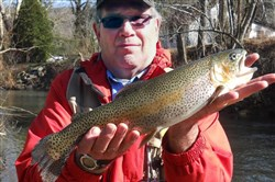 Doug Leichliter of Greensburg cradled this nice trout for a quick photo before it was safely released.