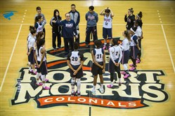 The Robert Morris women's basketball meets at center court of the Sewall Center in February 2016. The university plans to build a new home for the basketball and volleyball teams, set to open in January 2019.