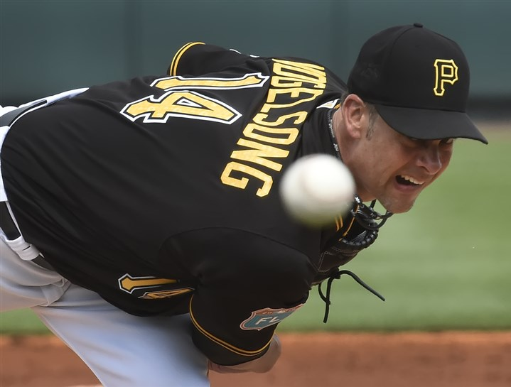20160303pdPiratesSports16-9 Ryan Vogelsong delivers against the Blue Jays on Thursday at McKechnie Field in Bradenton Fla.