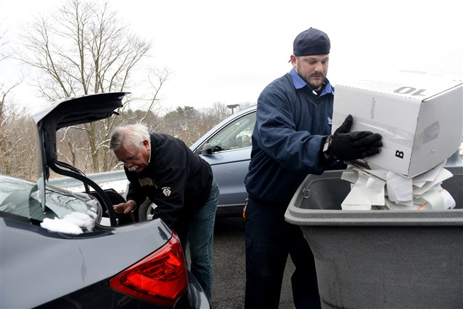 Personal documents are prepared for shredding at a 2016 event in Wexford.