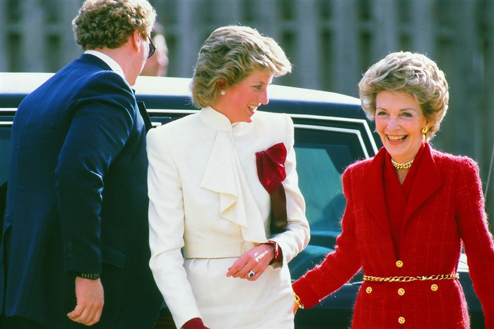 Nancy Reagan with Princess Diana Princess Diana is accompanied by First Lady Nancy Reagan during a visit to a community center in Springfield, Va., during a 1985 visit to the United States with Prince Charles.
