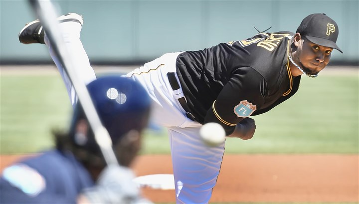 20160306pdPiratesSports07-5 Juan Nicasio delivers against the Houston Astros at McKechnie Field in Bradenton, Fla.
