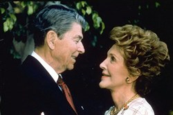 Former President Ronald Reagan and his wife Nancy are shown in this 1992 file photo. Mr. Reagan died after having suffered from Alzheimer's disease for nearly a decade.