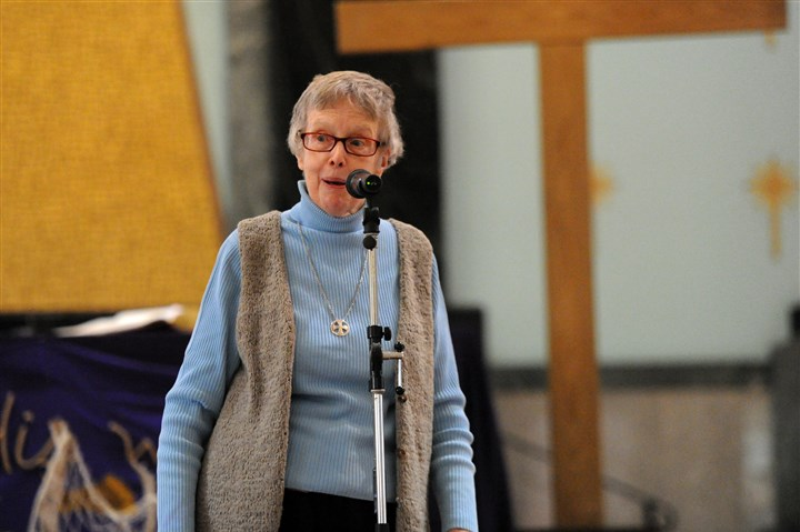 20160307JHLocalNuns01-1  Rosemary Donley, a Sister of Charity who became a nun in 1957, recites her story at a rehearsal.