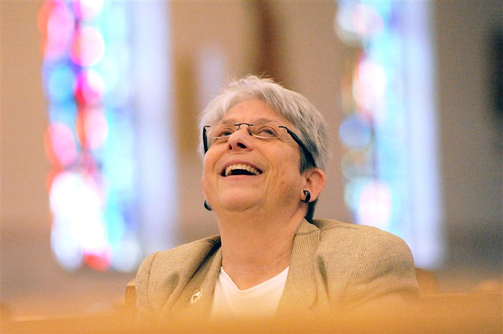 20160306JHLocalNuns04 Barbara Einloth, a Sister of Charity, laughs during a rehearsal Monday at St. Sylvester Church in Brentwood.