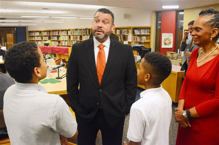 20160311lf-Education01 Pennsylvania Secretary of Education Pedro Rivera chats Friday with Michael Penn, left, and Nykier Rule, both seventh-graders at Pittsburgh King K-8 on the North Side. Mr. Rivera visited the school as part of his Accountability and Achievement Tour. At right is Pittsburgh Public Schools superintendent Linda Lane.