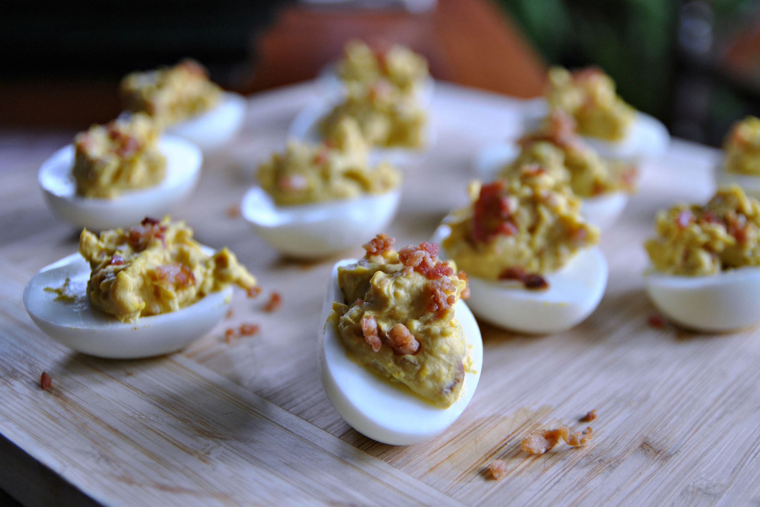 bacon and balsamic deviled eggs Bacon and Balsamic Deviled Eggs.