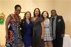 From left, Glynda Carr, co-founder of Higher Heights; Jessica Gonzales-Rojas, executive director of National Latina Institute for Reproductive Health; Jessica Byrd, principal of Three Point Strategies; Kimberly Kaplan and La'Tasha D. Mayes, executive director of New Voices.