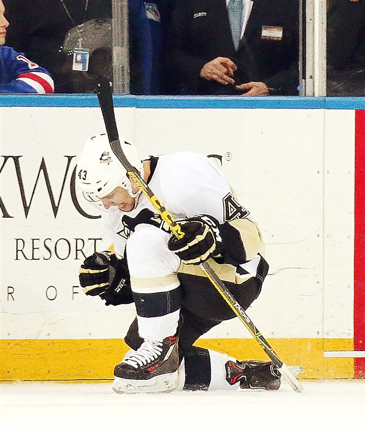 Pittsburgh Penguins v New York Rangers-3 Conor Sheary celebrates his second goal of the game against New York.