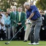 Arnold Palmer hits an honorary tee shot before the first round of the 2015 Masters golf tournament in Augusta, Ga.