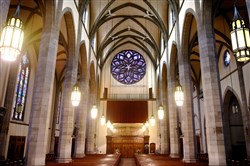 Holy Rosary Church in Homewood is famous for its large rose window designed by Harry Wright Goodhue. Holy Rosary, which is part of St. Charles Lawanga parish, is one of three churches that will be open to the public on April 16.