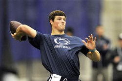 Penn State's quarterback Christian Hackenberg throws in front of the scouts during Pro Day for NFL scouts at the school in March.