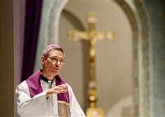 "Bishop Mark L. Bartchak, pictured during a Mass at the Cathedral of Blessed Sacrament in Altoona in March, will be holding three prayer services this week for the victims of sexual abuse, a move at least one advocacy group says is ""nothing more than public relations."""
